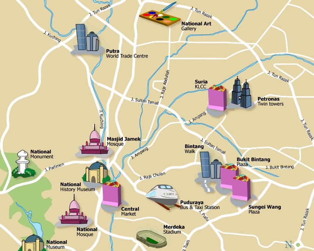 Kl Turist Kort Turist Kort Over Kl Malaysia Malaysia